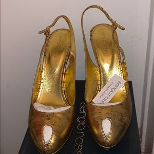 Sexy gold Sergio Rossi sling backs